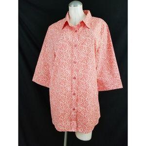 Blair Size XL Coral Off White Button Down Shirt